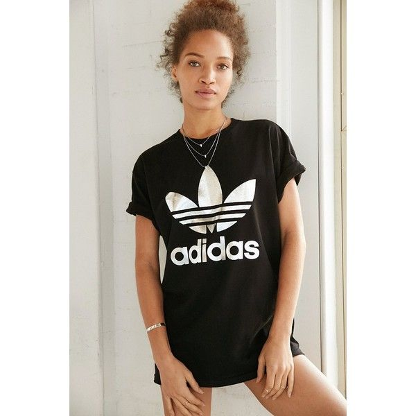 6236f518975 adidas Originals Silver Double Logo Tee ($35) ❤ liked on Polyvore featuring  tops, t-shirts, black, logo tops, logo t shirts, short sleeve t shirt, ...