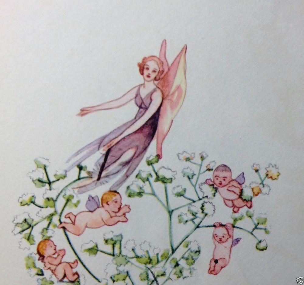 Grenwis Baby S Breath Flower Child Fairy Poem 1936 Vtg Art Print Illustration Art Prints Babys Breath Flowers Flower Child