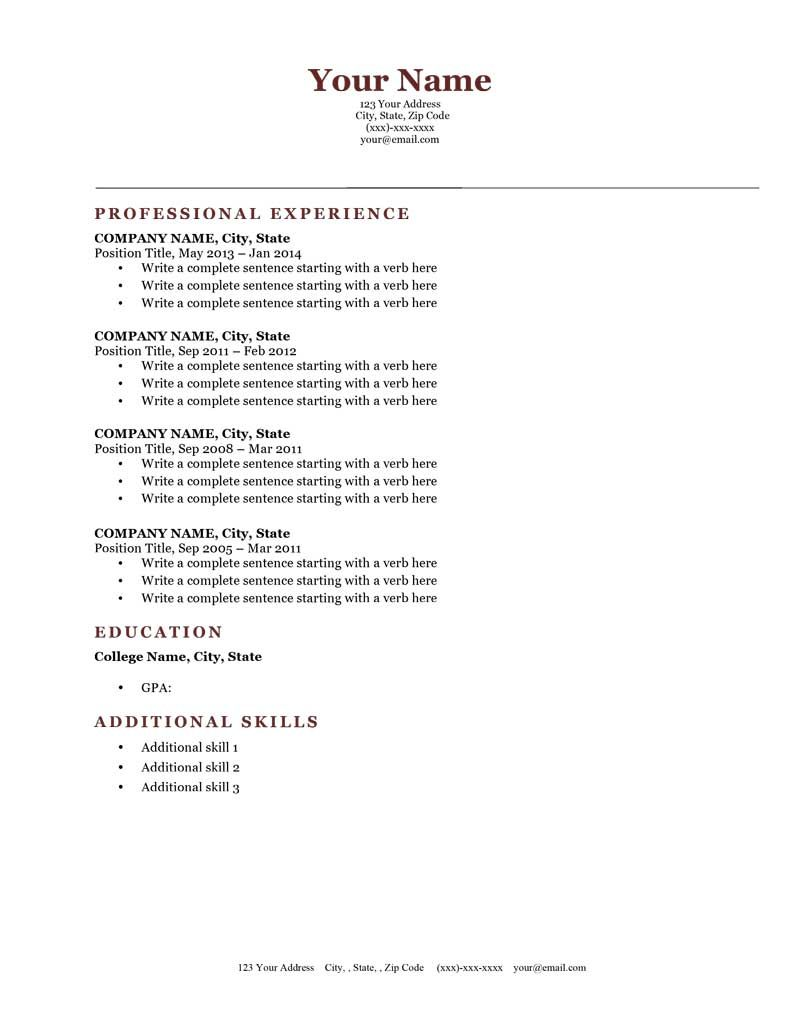 Classic Brick Red Microsoft Word Free Downloadableresume Template