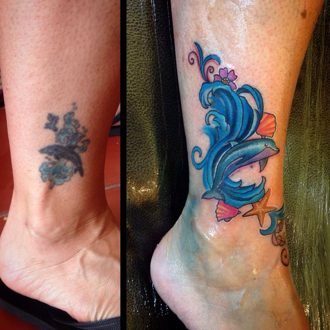 Before And After Dolphin Tattoo Fixed By Our Resident Artist Aura