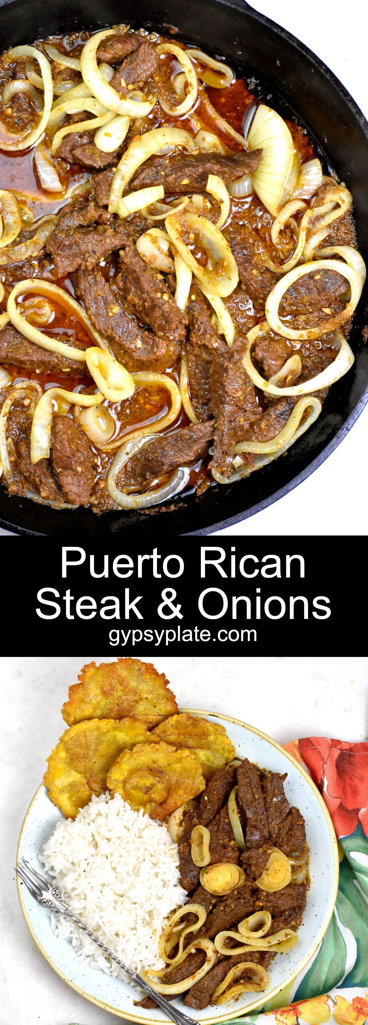 Give your beef a Latin makeover with this great Puerto Rican recipe. These steak and onions, aka bistec encebollado, are packed with tropical flavors!