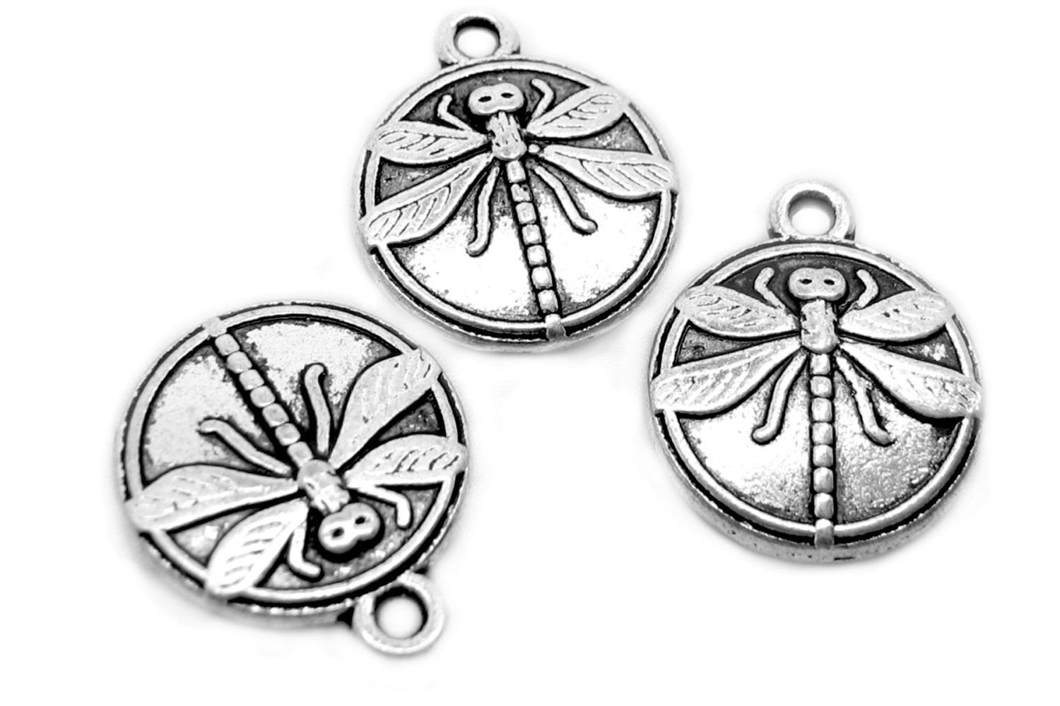 Charms : 10 Antique Silver Double-Sided Dragonfly Charms | Silver Ox Dragonfly Coin Pendants -- 65702.B24