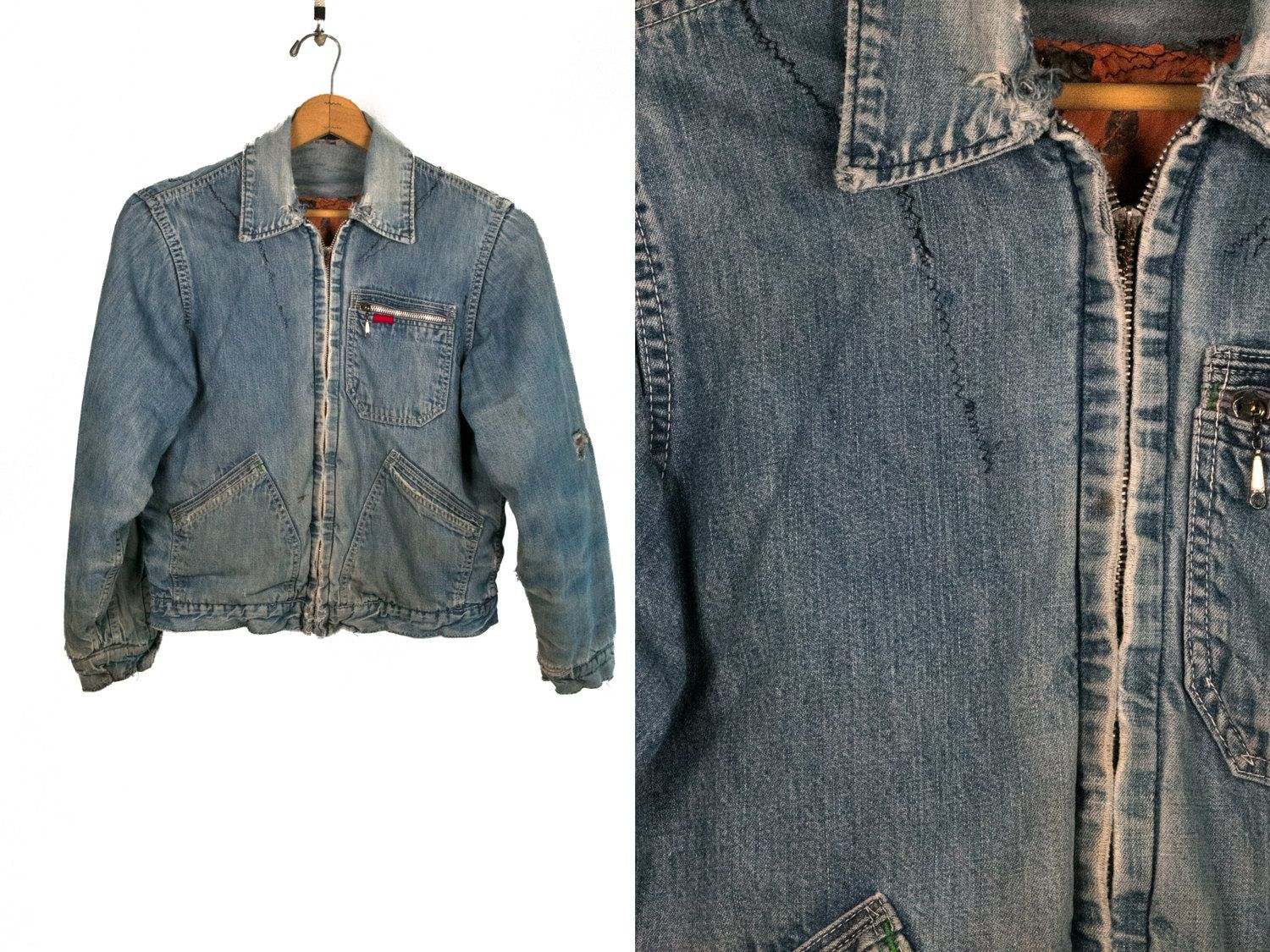 Vintage 1980's Distressed Denim Jacket / Jean Jacket with Hand Mending and Stitching from Machine Americana Unisex Adults Small by thiefislandvintage on Etsy