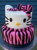 Meagn Zebra Print Hello Kitty Birthday Cake