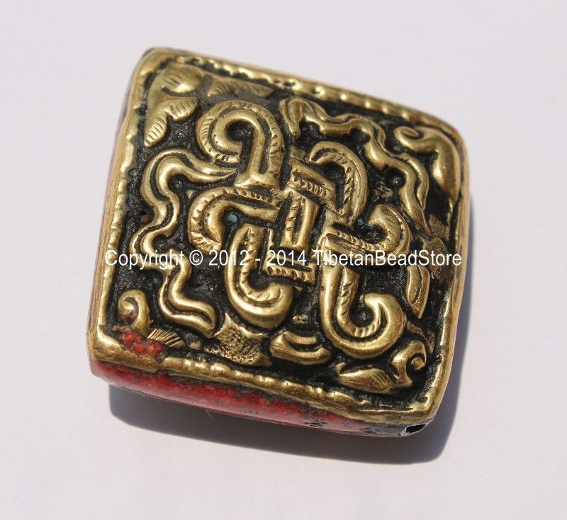 1 Bead - Large Tibetan Repousse Brass Endless Knot Bead with Coral Side Inlays - Big Square Focal Bead - B2264