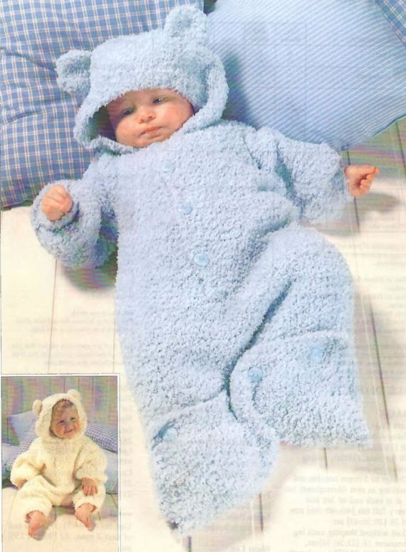 1b5e1dbf3 Knit Baby Sleeping Bag Vintage Pattern 3 months - 4 years hooded ...