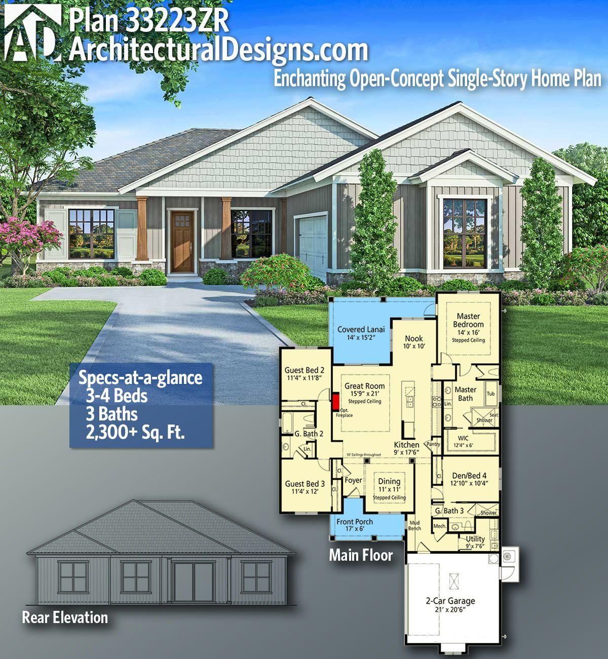 Plan 33223zr Enchanting Open Concept Single Story Home Plan House Plans Dream House Plans House Blueprints
