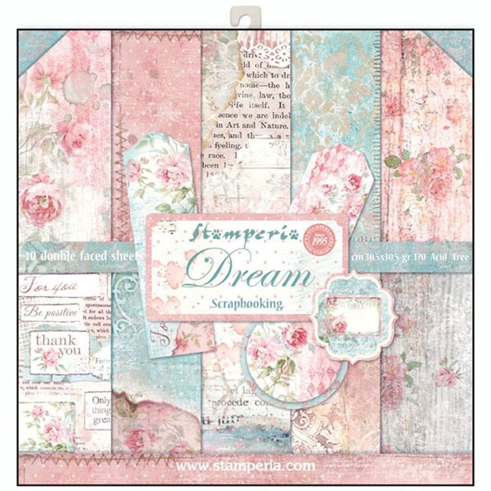 12x12 Paper Pad Dream 10 Double Sided Sheets By Stamperia For Scrapbooks Cards Crafting Found At Fotobella Com Scrapbook Paper Paper Pads Scrapbook