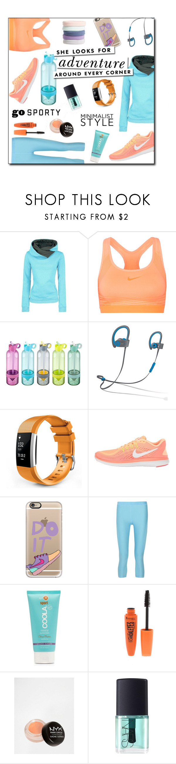 """""""Adventure hoodie"""" by jaystilo ❤ liked on Polyvore featuring NIKE, Beats by Dr. Dre, Casetify, Kate Spade, COOLA Suncare, Rimmel, NYX, NARS Cosmetics and L. Erickson"""