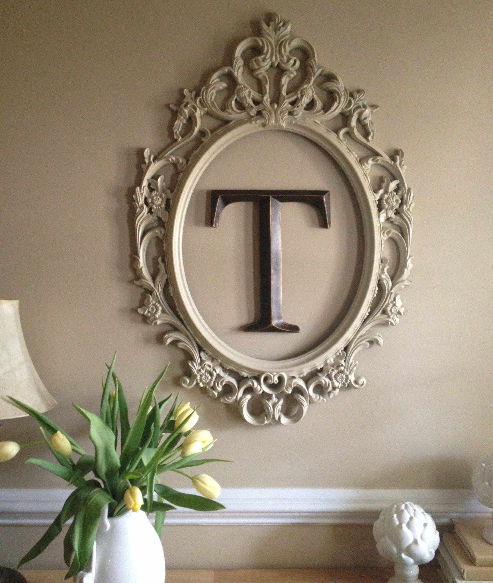 Spray painted ikea frame and monogram letter from hobby lobby at