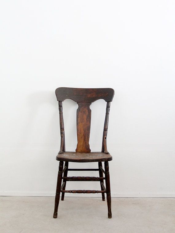 Antique Fiddleback Chair 1900s Wood By 86home On
