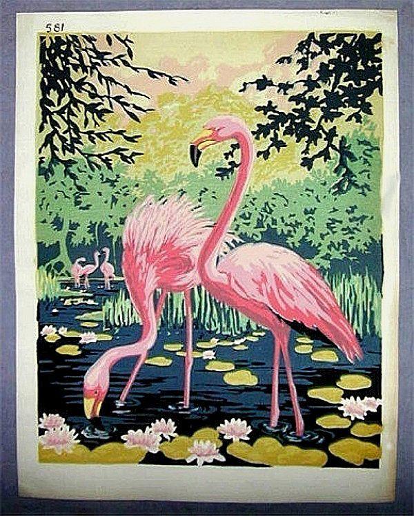 Image detail for -Original Art Deco Era c1940 FLAMINGO Silk Screen Print from ...