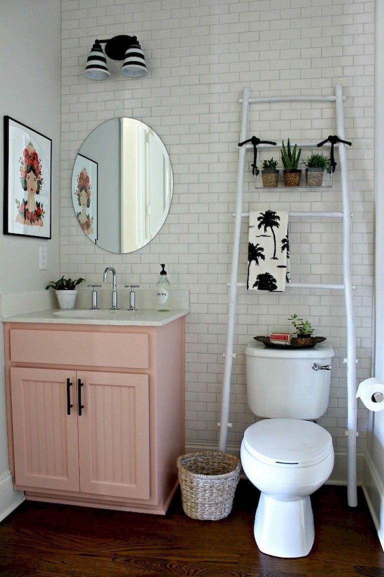 53 Amazing Modern Farmhouse Small Master Bathroom Ideas Apartment Decorating Rental Small Bathroom Decor Cute Bathroom Ideas