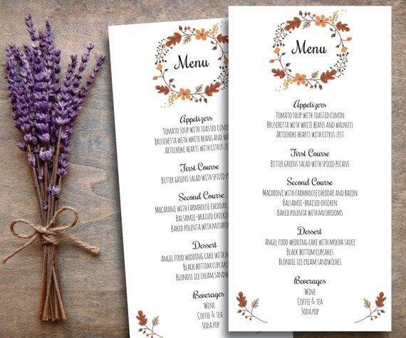 "Thanksgiving Menu Template, Editable Menu 4x8"", Microsoft"