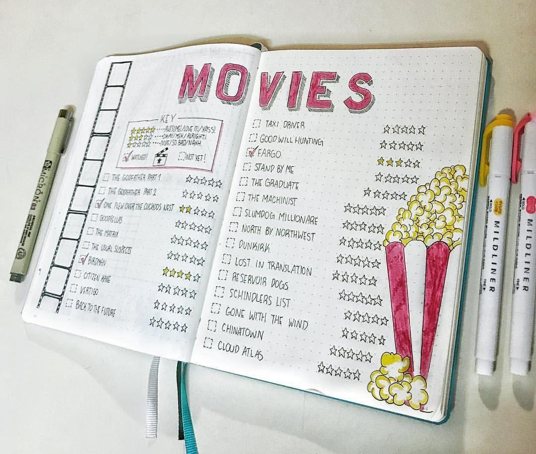 """Bullet Journal auf Instagram: """"Ich liebe Filme, aber die meisten Klassiker habe ich noch nicht gesehen! Ich musste mir eine Liste machen, um den Überblick zu behalten. Es war super hilfreich."""