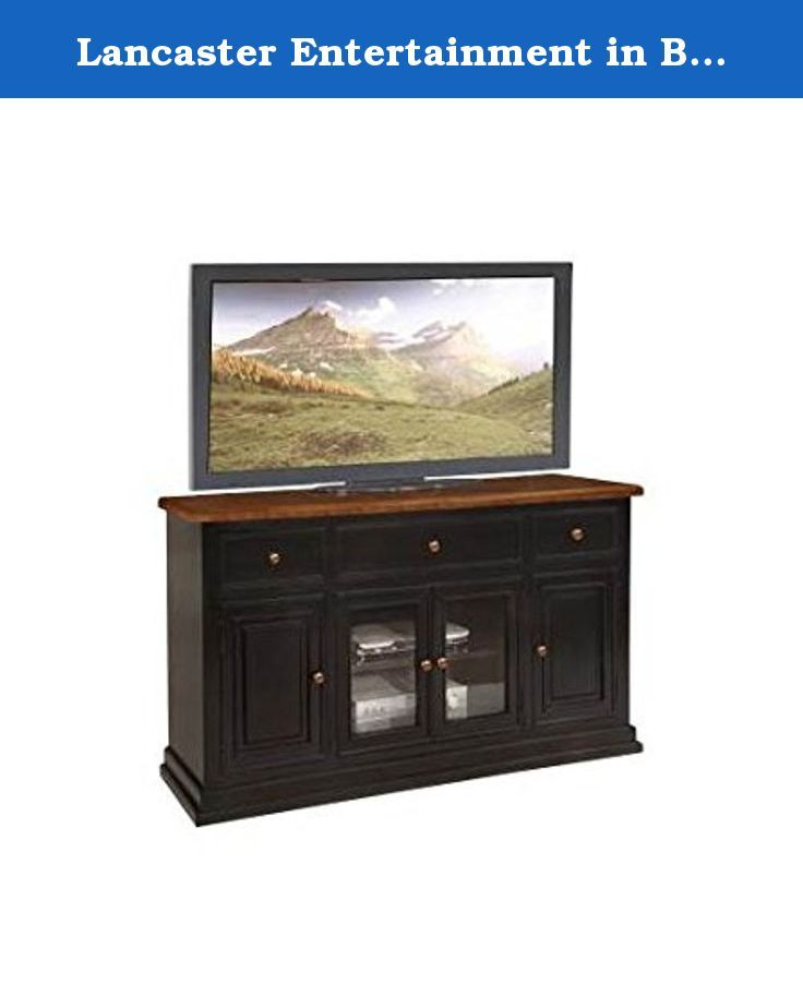 Lancaster Entertainment in Black and Cherry. Rustic style. Made in China. Assembly required. 34 in. W x 18.5 in. D x 62 in. H (156 lbs.).