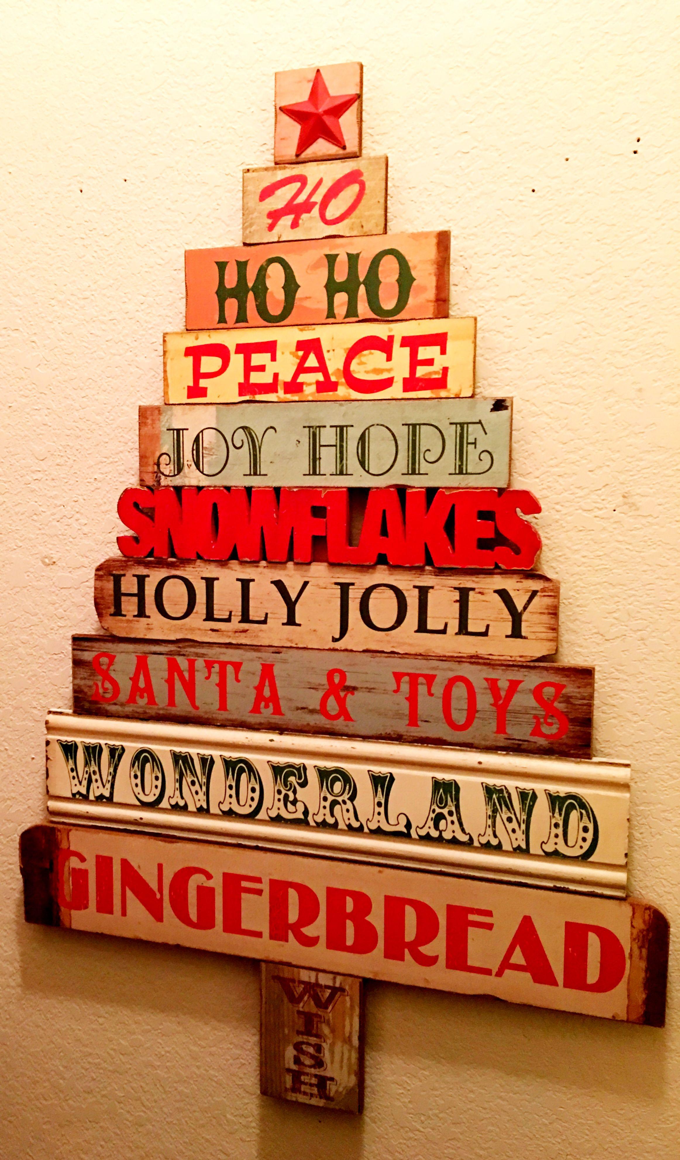 Rustic Wooden Christmas Tree Wall Decor With Cutout Snowman Is Fun Wooden Christmas Trees Tree Wall Decor Jolly Santa