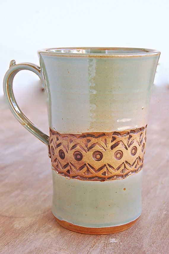 Stoneware Mug, 16 oz Handmade Pottery Keramik Kitchen Serving Dining Housewares Cup in Robin's Egg Blue and Brown