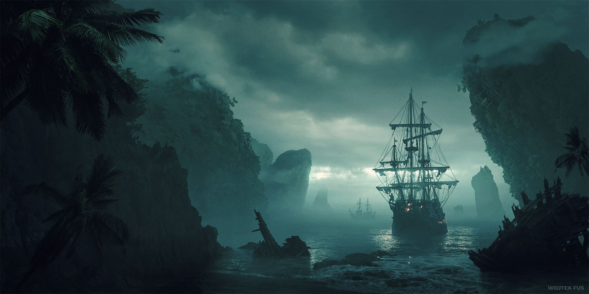 Wojtek Fus Digital Painting Concept Art New land sea boat