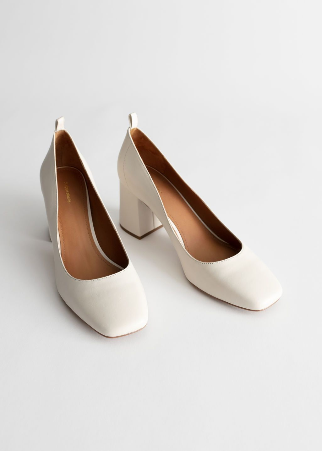 Square Toe Leather Ballerina Pumps in