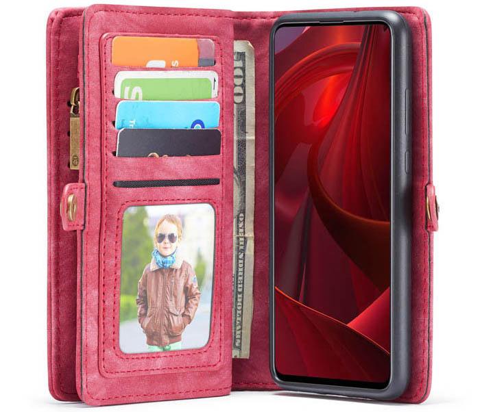CaseMe Samsung Galaxy A51 Zipper Wallet Detachable Case Red
