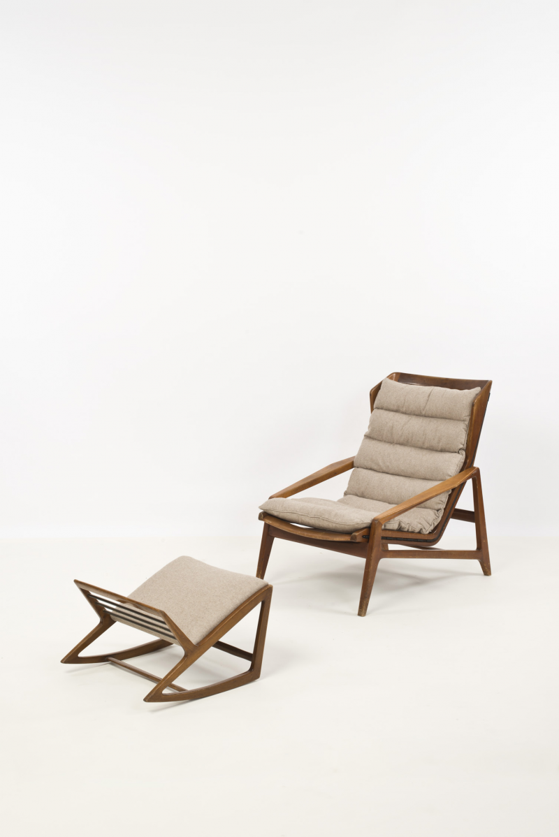 Leather lounge chair and ottoman by percival lafer chairs