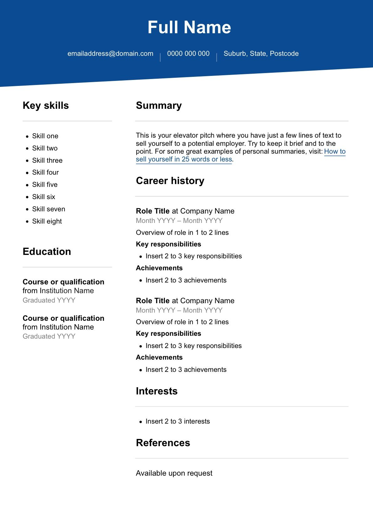 Cv Template Australia Andriblog.design in 2020 Resume