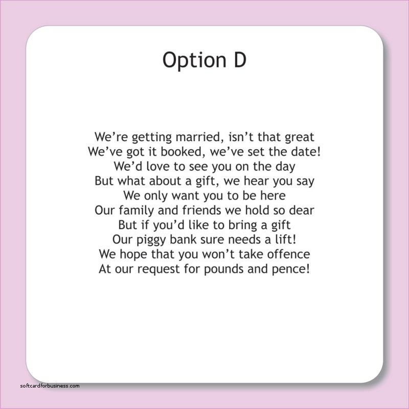 Gift List Wording Wedding Invitations Unique
