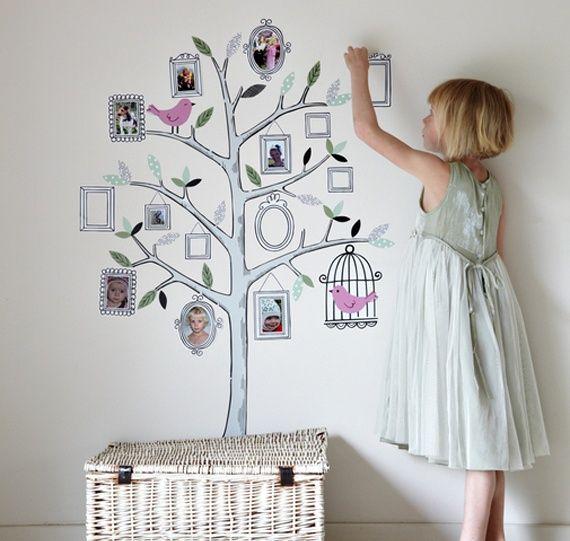 Familienfotos an die wand kinderzimmer familienbaum stammbaum wand - Stammbaum basteln mit kindern ...