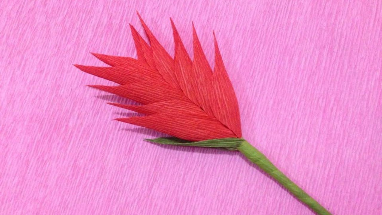 How To Make Heliconia Crepe Paper Flowers Flower Making Of Crepe