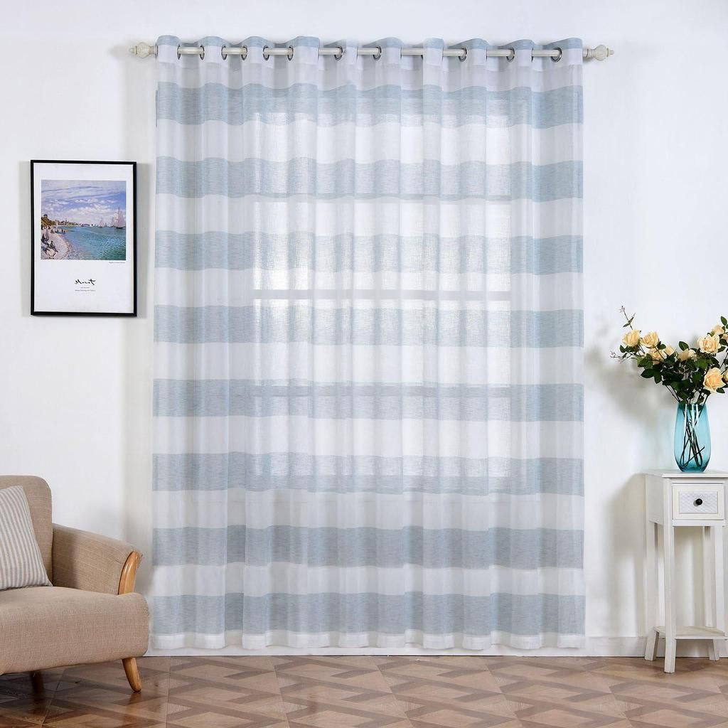 2 Pack 52 X 96 Cabana Print Faux Linen Curtain Panels With Chrome Grommet White Blue With Images White Paneling Insulated Curtains Panel Curtains