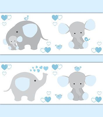 blue grey gray elephant nursery baby boy wallpaper border wall art, Innenarchitektur ideen