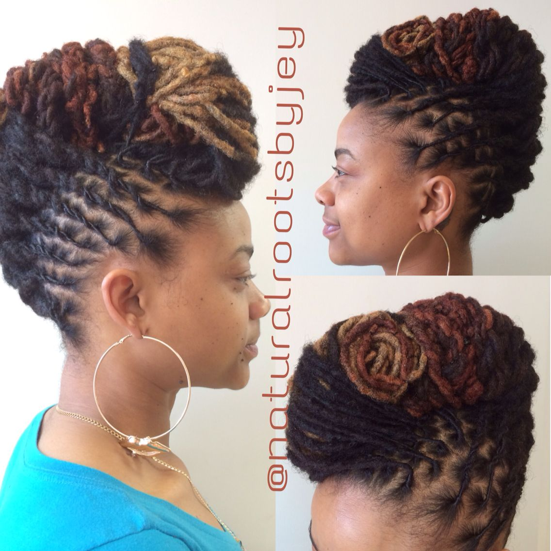 loc updo with color - long locs | natural roots by jey's own styles