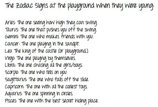 The Zodiac signs at the playground when they were young