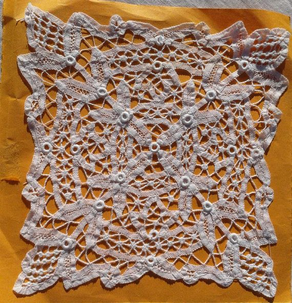 French Antique Needlelace Tape Lace Vintage Lace Square