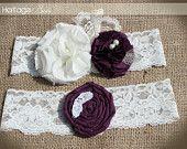 Garter- Bridal Wedding Garter- burlap garter-eggplant purple garter- vintage rustic garter- Fall Sale Free Gift