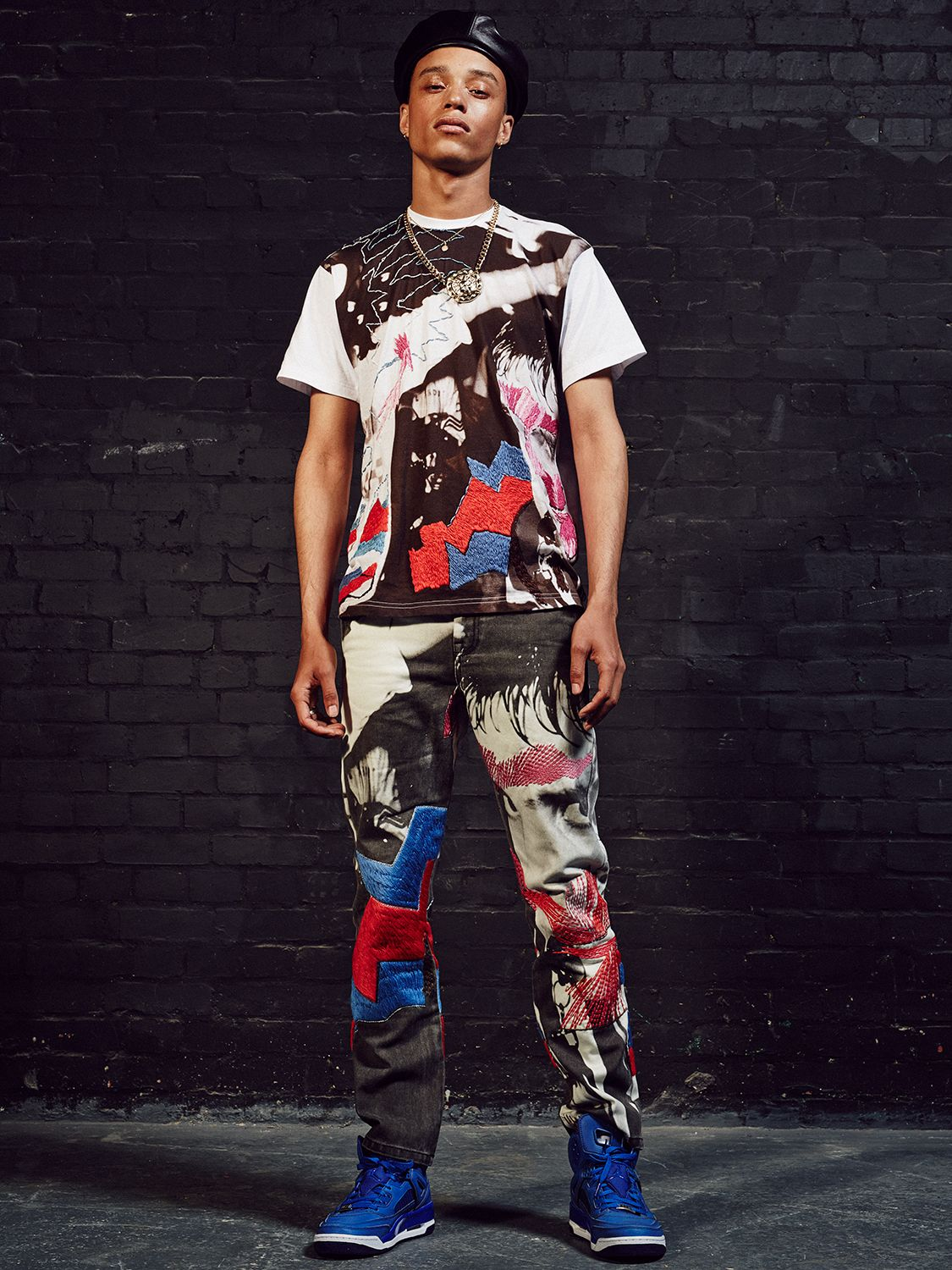 House of holland mens wear season model wearing our rave tee and