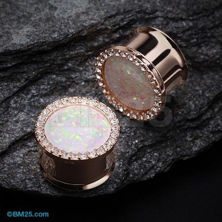 Body Candy Rose Gold Tone PVD Steel Clear Accent Glitzy Screw Fit Tunnel Plug Set of 2