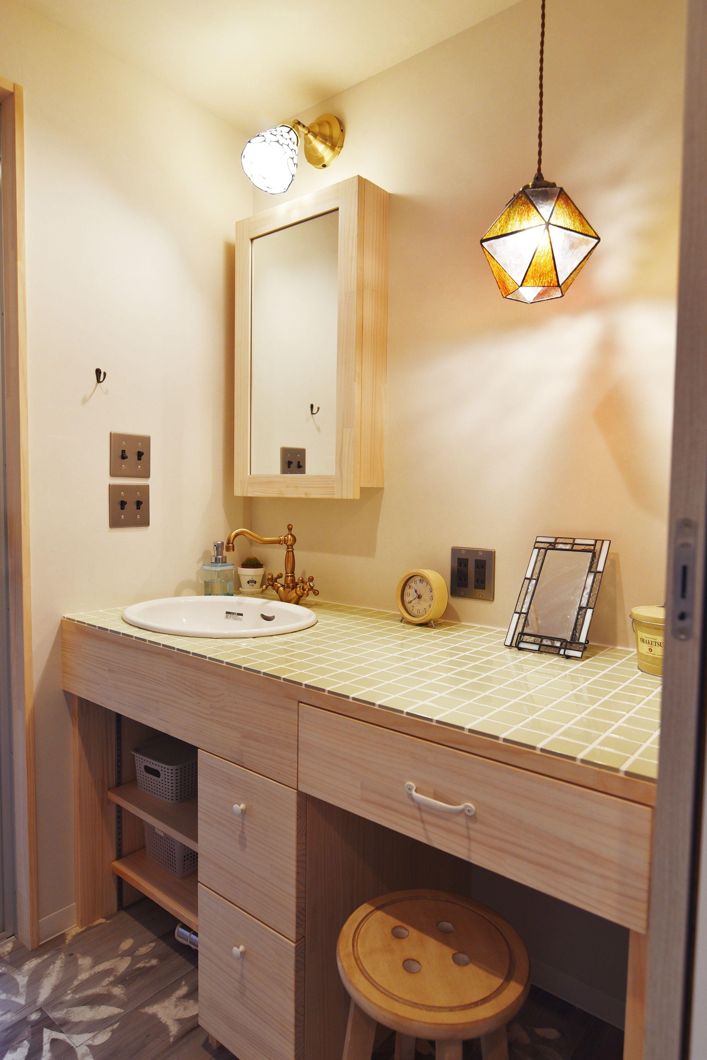 洗面 メイクスペース インテリア実例 洗面所 洗面 洗面器 照明