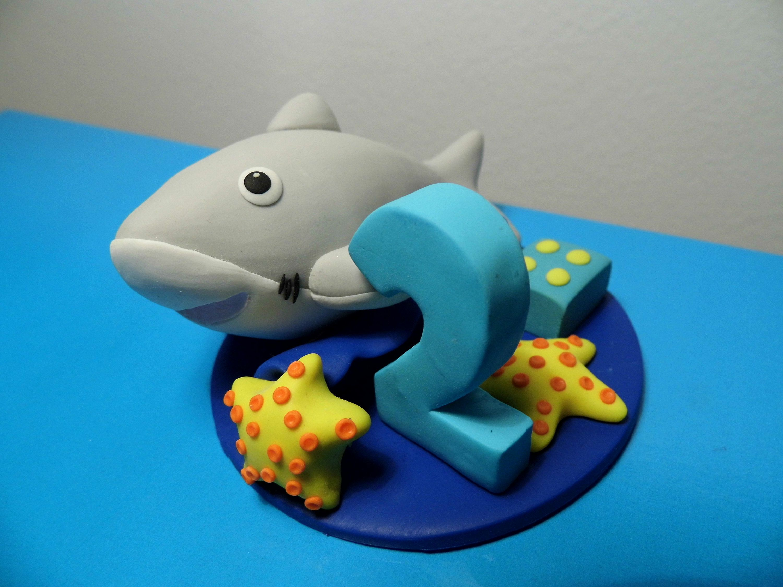 Shark beach birthday theme party Shark cake topper Beach cake