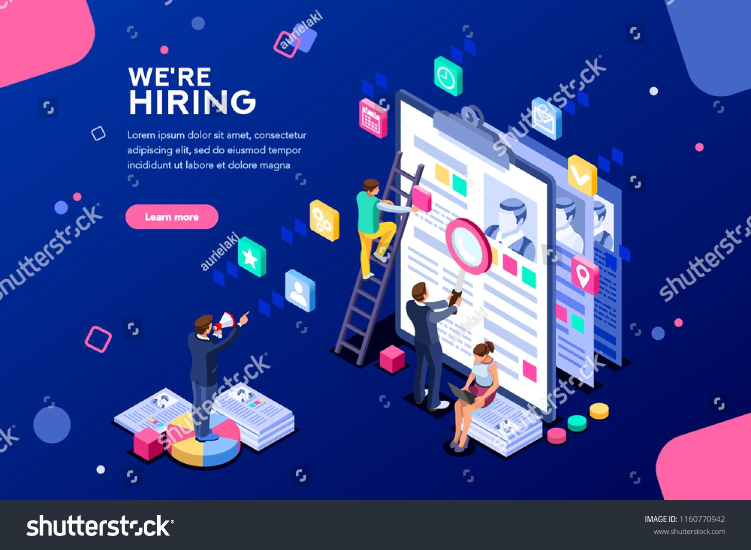 Job Presentation Fair Banner Page Choose Career Or Interview A Candidate Job Agency Human Resources Creative Find Experienc Job Agency Isometric Presentation