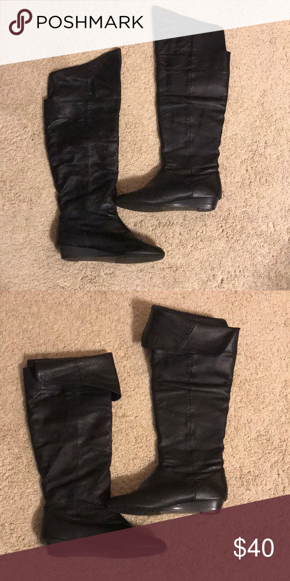 aab084f7b27 Chinese Laundry Boots Black leather above the knee boots or can be folded  down for below the knee wear. Smoke free home. Chinese Laundry Shoes Over  the Knee ...