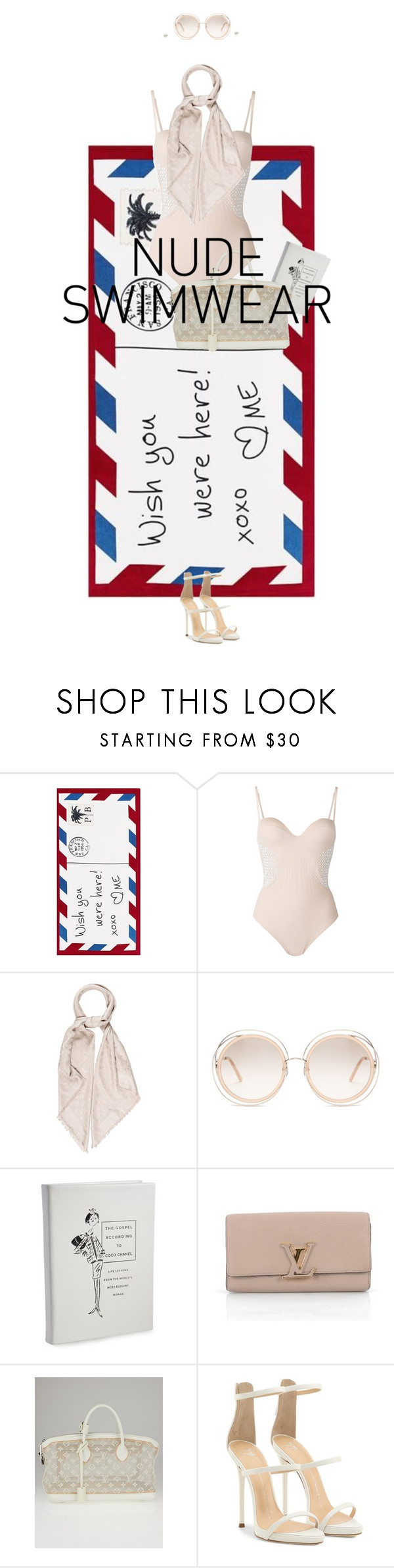 """""""Untitled #859"""" by diaval ❤ liked on Polyvore featuring Pottery Barn, La Perla, Louis Vuitton, Chloé, Graphic Image and Giuseppe Zanotti"""