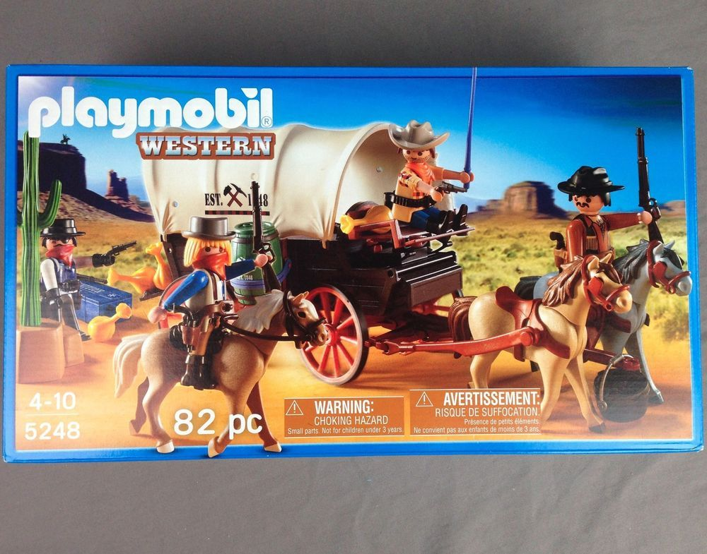 Playmobil Western 5248 Covered Wagon With Raiders 82 Pieces Brand New Playmobil Western Cowboys Covered Wagon Playmobil Preschool Toys