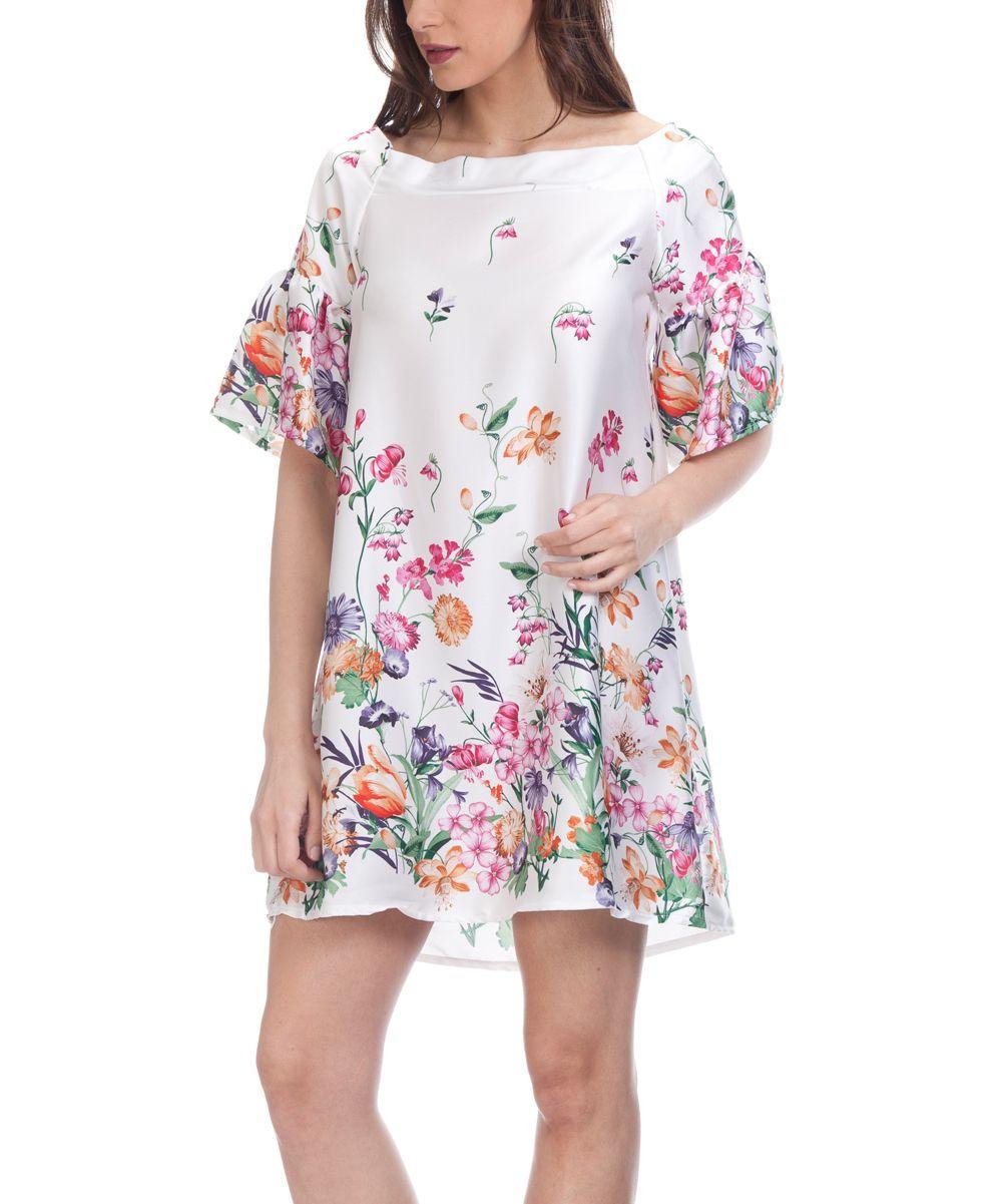 White Floral Boatneck Swing Dress