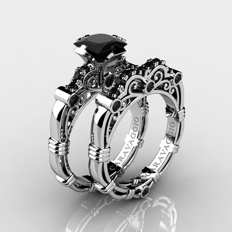 Art Masters Caravaggio 14K White Gold 1.25 Ct Princess Black Diamond  Engagement Ring Wedding Band Set