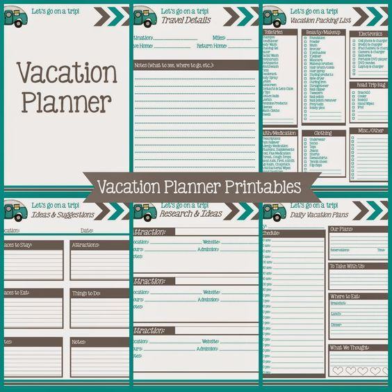 Vacation Planning Printables - Free! Planners in 2018 Pinterest
