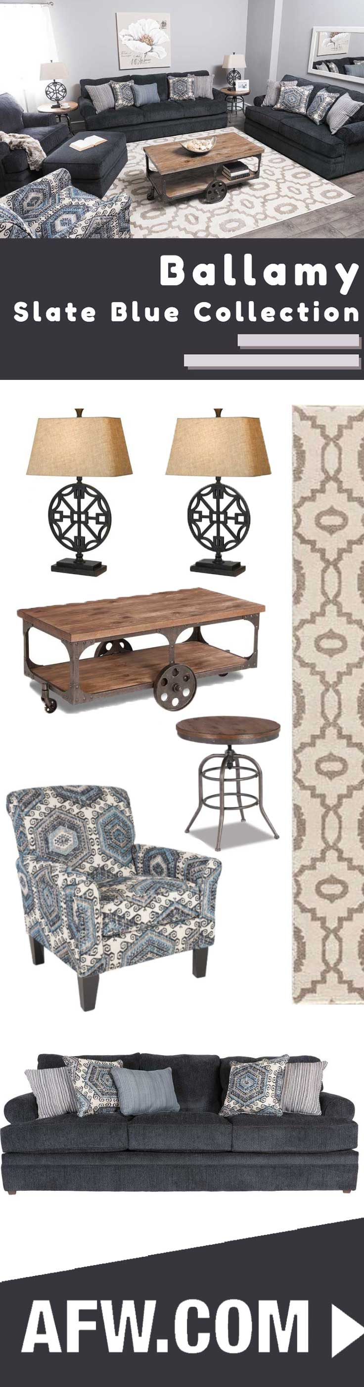 Bellamy Slate Blue Sofa   Slate, Upholstery and Living rooms