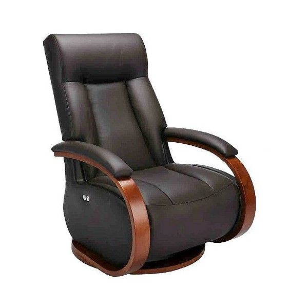 Recliner: Mac Motion Top Grain Leather Swivel Recliner with Ottoman -... ($1,650) ❤ liked on Polyvore featuring home, furniture, chairs, recliners, brown, outdoor chairs, outdoor furniture, swivel recliner, outdoors chairs and swivel chair