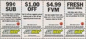 photo about King Soopers Coupons Printable named $1 off Subway Coupon inside 2019 No cost printable coupon codes